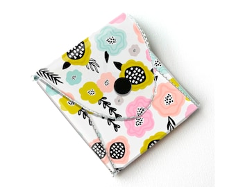 Vinyl Pouch - Blooming Spring Floral / small wallet, coin purse, vegan wallet, kids wallet, floral, flowers, gardener, gift,  notion case