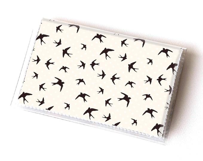 Vinyl Card Holder - The Birds / clouds, blue, card case, vinyl wallet, women's wallet, small, pretty, handmade, cute, summer, hitchcock