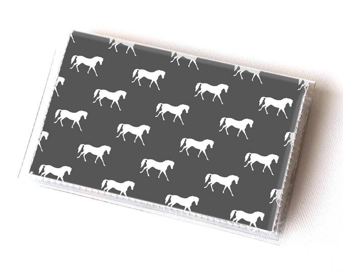 Handmade Vinyl Card Holder - Drk Grey Ponies  / card case, vinyl wallet, women's wallet, small wallet, pretty, gift, cute, ponies, horse