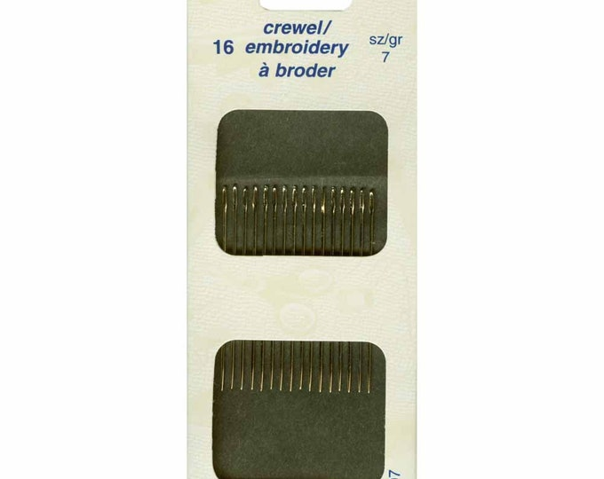 Unique Sewing Crewel Needles, Size 7,  Pack of 16 - cross stitch, embroidery, needles, stitching, craft supply, dmc, crafts, hand sewing