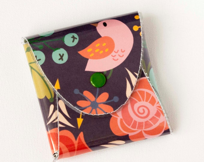 NEW Handmade Vinyl Coin Purse - Gentle/ wallet, vegan, change, snap, small, little, pocket wallet, gift, bird, purple, floral, cute