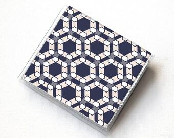 Square Card Holder - Geometric / square wallet, vegan, case, vinyl, slim, wallet, plaid, hipster, blue, men's wallet, mens square case