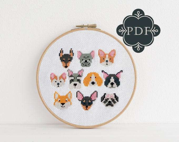 PDF Counted Cross Stitch - Dogs / cross stitch pattern, embroidery, pattern, gift, pet lover, dog crafts, puppy, puppies, dog embroidery