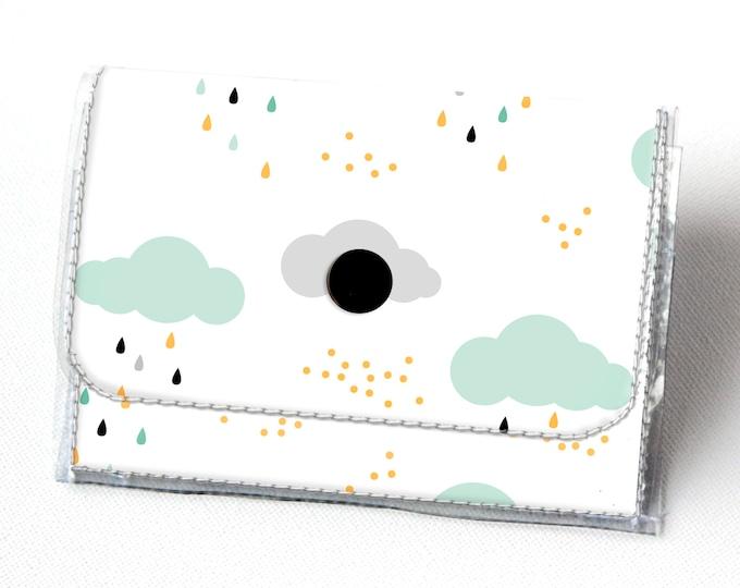 Vinyl Accordion Wallet - Spring Rain1 / clouds, rain drops, rain, mint, small wallet, snap, cute, card case, vinyl wallet, women's wallet