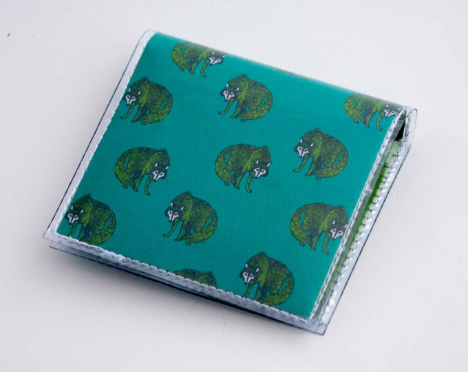 Handmade Vinyl Moo Square Card Holder - Henry Wolf / case, vinyl, snap, wallet, paper, mini card case, moo case, square, wolves, wild, wolf
