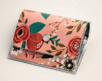 Handmade Vinyl Accordion Wallet - Botanical Pink / small wallet, snap, cute, card case, vinyl wallet, women's wallet, floral, pink, gift