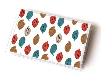 SALE Vinyl Card Holder - Cocoa Beans / chocolate, cocoa, happy, colorful, card case, vinyl wallet, women's wallet, men, smallSA