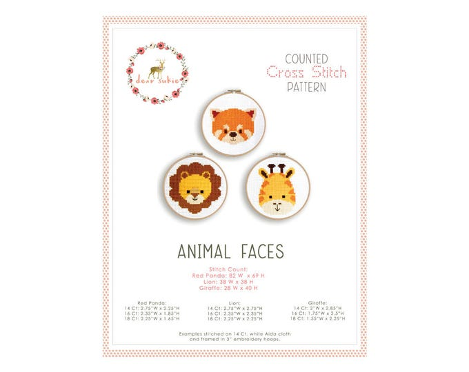 Counted Cross Stitch Pattern - Animal Faces / cross stitch, diy, how-to, embroidery, pattern, gift, supply, instruction, baby, nursery, cute
