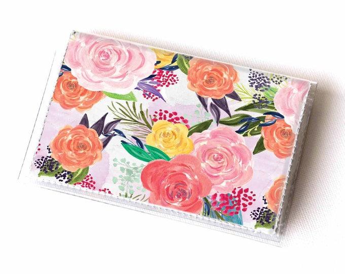 Vinyl Card Holder - Joyful Spring1 / pink, floral, flowers, card case, vinyl wallet, women's, small wallet, pretty, gift, cute, summer