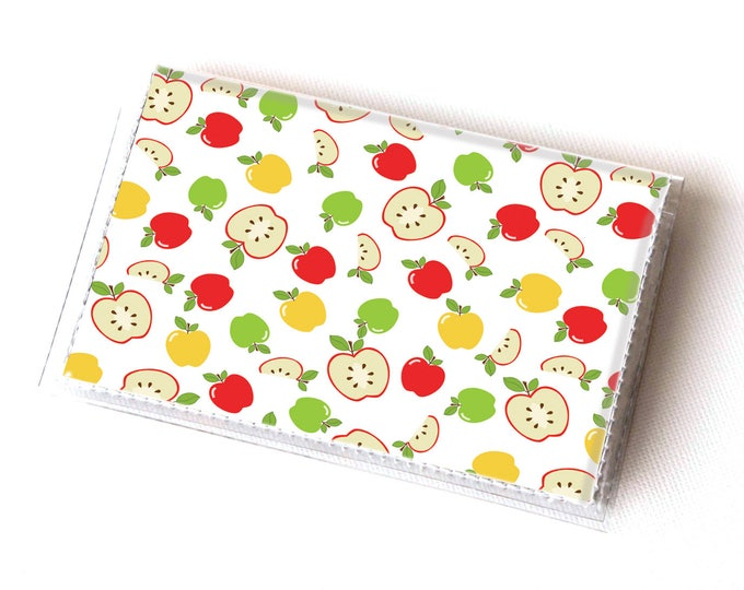 Vinyl Card Holder - Apples / fruit, happy, colorful, green, card case, vinyl wallet, women's wallet, small, pretty, handmade, cute, retro