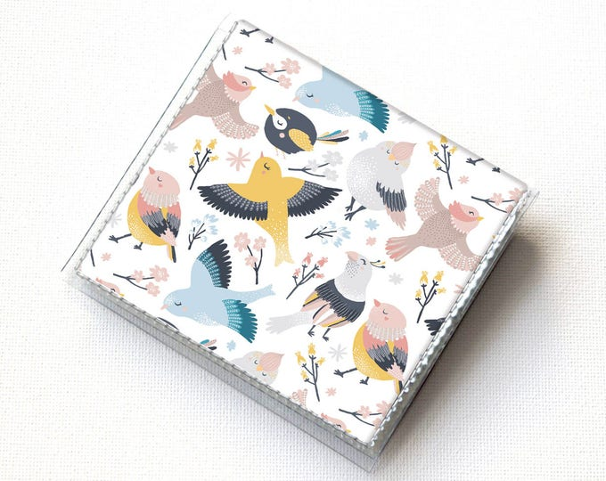 Handmade Vinyl Moo Square Card Holder - Blossom / case, snap, wallet, paper, mini card case, moo case, floral, birds, pretty, gift, cute