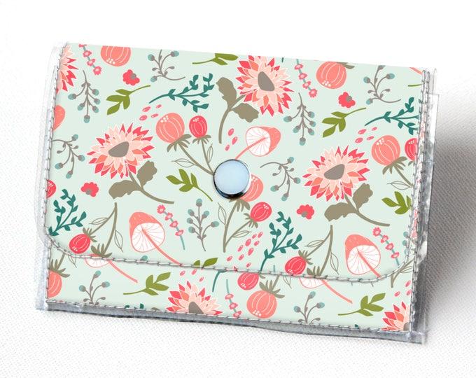 Vinyl Accordion Wallet - Springtime Flora / small wallet, snap, cute, card case, vinyl wallet, women's wallet, blue, floral, mint, summer