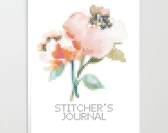 Stitcher's Journal - floral, notes, book, cross stitch, embroidery, gift,  handmade, maker, embroidery, stitching, stitcher, notebook