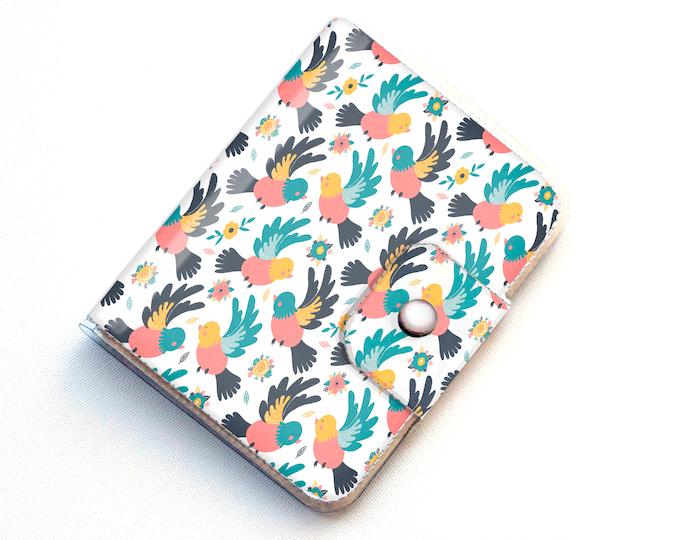 Handmade Vinyl Passport Case - Spring Birds / traveller, passport, adventure, gift, vinyl, woman's, wallet, bird wallet, vegan wallet