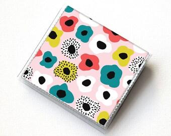 Square Card Holder - Blooming Spring Flower Power / case, vinyl, snap, wallet, paper, square, floral wallet, square case, pink wallet