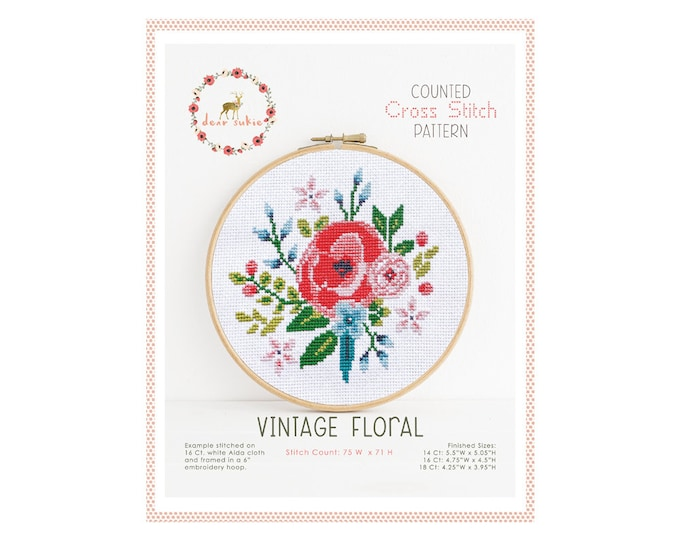 Counted Cross Stitch Pattern - Vintage Floral / cross stitch, diy, how-to, embroidery, pattern, gift, supply, instruction, floral, rose