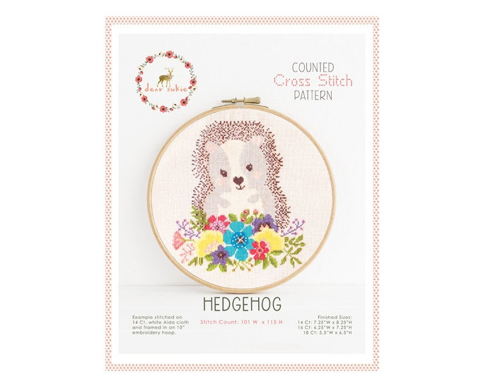 Counted Cross Stitch Pattern - Hedgehog / hedgehog cross stitch pattern, embroidery, pattern, gift, supply, instruction, baby, nursery,