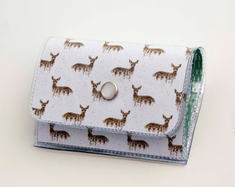 Handmade Vinyl Accordion Wallet - Deers on White / small wallet, snap, cute, card case, vinyl wallet, women's wallet, deer, gift, woodland