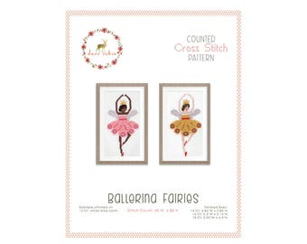 Counted Cross Stitch Pattern - Ballerina Fairies / cross stitch, diy, how-to, embroidery, pattern, gift, supply, instruction, baby, nursery
