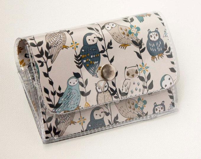 Handmade Vinyl Accordion Wallet - Owls in Flowers / small wallet, snap, cute, card case, vinyl wallet, women's wallet, birds, woodland, owl