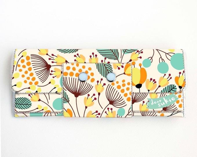 Handmade Vinyl Long Wallet - Piano Floral / vegan, large wallet, clutch, zipper, card case, vinyl wallet, snap wallet, floral, flowers