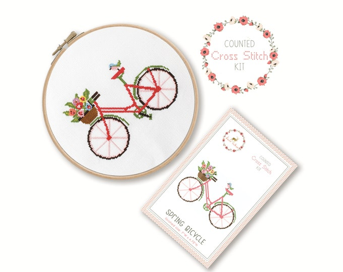 Counted Cross Stitch Kit - Spring Bicycle / bike cross stitch pattern, craft kit, embroidery, gift, fun, dmc, supplies, handmade, bird