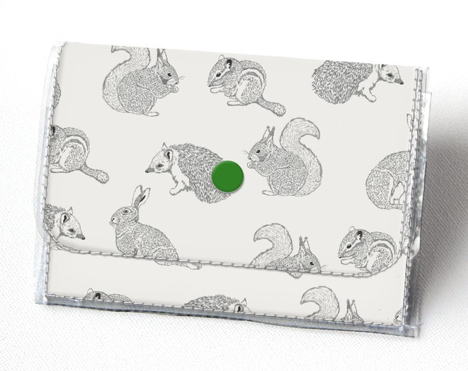 Handmade Vinyl Accordion Wallet - Forest Friends / woodland, small wallet, snap, cute, card case, vinyl wallet, women's wallet, rabbit