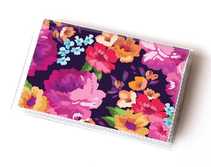 Vinyl Card Holder - Margot Purple / summer wallet, vegan wallet, floral wallet, card case, vinyl wallet, women's wallet, small wallet, gift