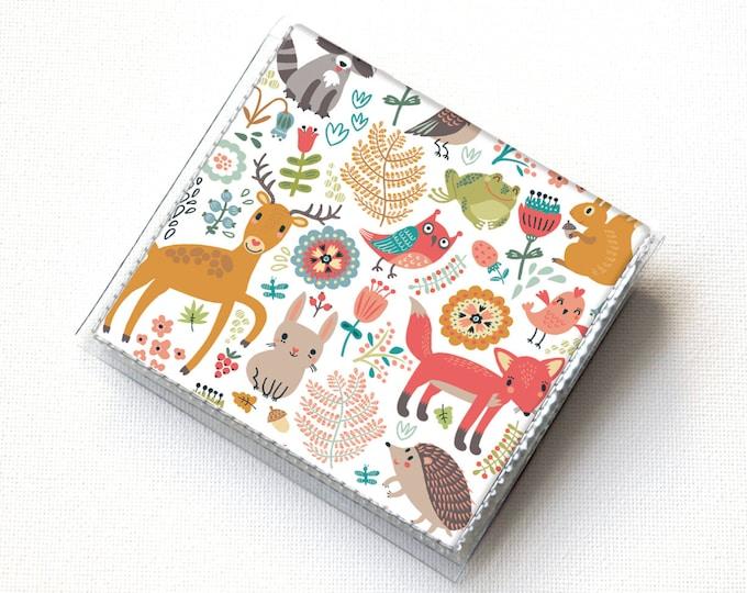 Vinyl Moo Square Card Holder - Fall Forest2 / case, vinyl, snap, wallet, mini card case, square, woodland animals, vegan, fox, deer, rabbit