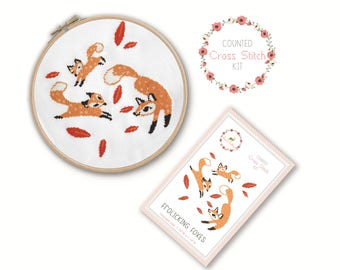 Counted Cross Stitch Kit - Frolicking Foxes / fox cross stitch pattern, craft kit, embroidery, pattern, gift, fun craft, cross stitch fabric