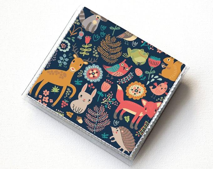 Vinyl Moo Square Card Holder - Fall Forest1 / case, vinyl, snap, wallet, mini card case, square, woodland animals, vegan, fox, deer, rabbit