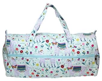 SEW EASY Llama Knitting Project Bag - knit, tote, duffel, craft, crochet, needle art, notions, knitting needles, llama, alpaca, floral