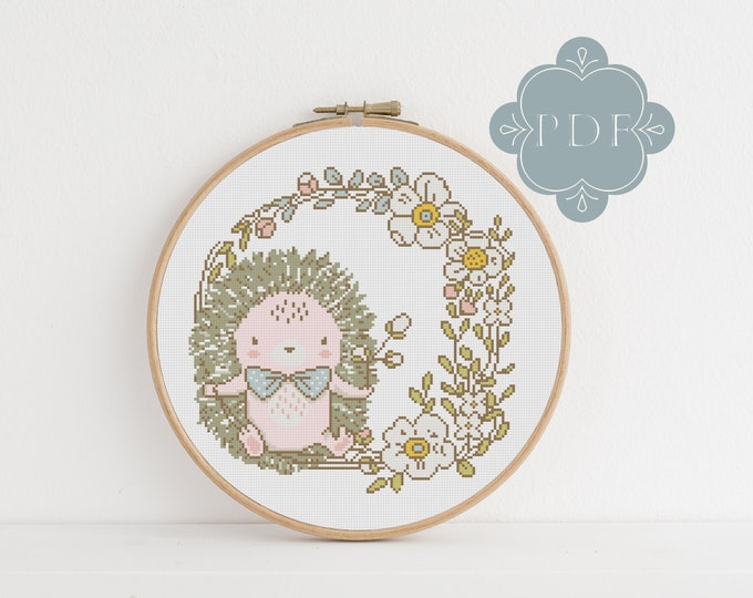PDF Counted Cross Stitch - Spring Hedgehog / cross stitch, diy, how-to, embroidery, pattern, gift, dmc, supply, instruction, wreath, cute