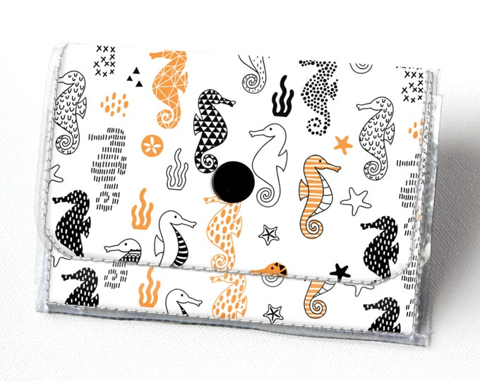 Vinyl Accordion Wallet - Seahorses / small wallet, snap, cute, card case, vinyl wallet, women's wallet, blue, sea, ocean, orange