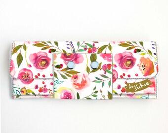 Vinyl Long Wallet - Pastel Floral Pink / flowers, vegan, pretty, large wallet, clutch, card case, vinyl wallet, pink, roses, peonies, peony