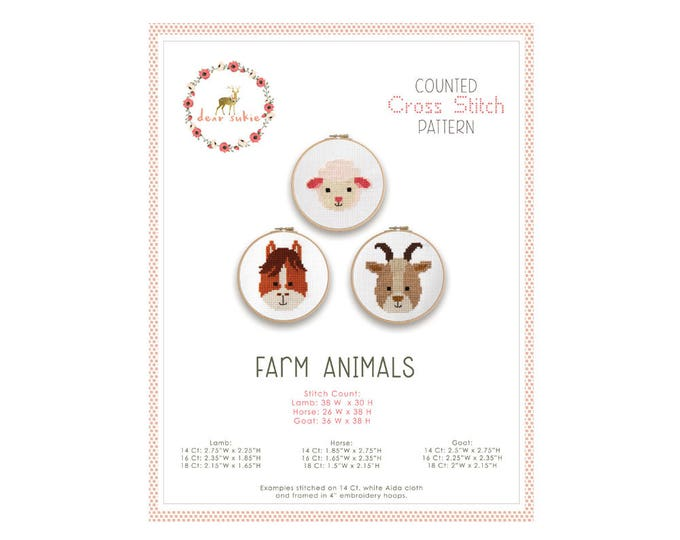 Counted Cross Stitch Pattern - Farm Animals / lamb, goat, horse, cross stitch, diy, how-to, embroidery, pattern, gift, supply, baby, nursery