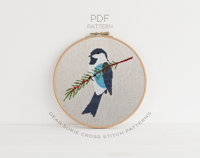 Featured listing image: PDF Counted Cross Stitch - Winter Bird / christmas cross stitch, diy, how-to, embroidery, pattern, gift, dmc, supply, instruction, bird