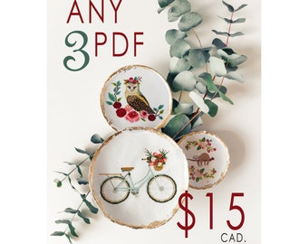 3 PDF Cross Stitch Patterns - cross stitch, embroidery, pattern, gift,  supply, instruction, sloth cross stitch, xstitch, crafter, handmade