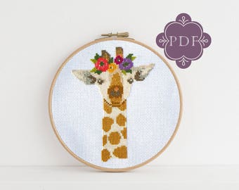PDF Counted Cross Stitch - Giraffe / giraffe cross stitch, diy, how-to, embroidery, pattern, gift, dmc, supply, instruction, baby, nursery