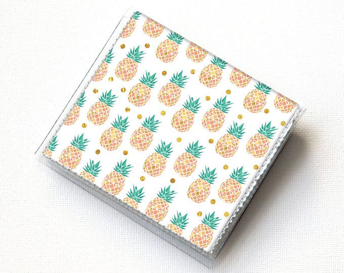 Square Card Holder - Tropical Summer2 / case, vinyl, snap, wallet, mini card case, moo case, square, pineapple, small, vegan