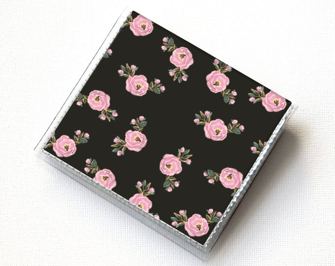 Vinyl Square Card Holder - Boho Chic / case, vinyl, snap, wallet, paper, mini card case, moo case, square, diamond wallet, vegan, floral