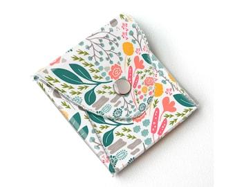 Vinyl Coin Purse - Flora Fields / wallet, vegan, change, snap, small, little, pocket wallet, gift, floral, mint, flowers, pretty