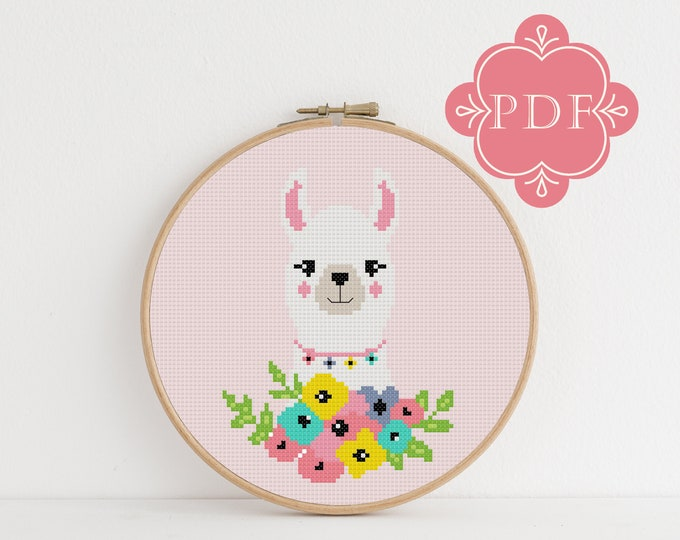 PDF Counted Cross Stitch - Llama / alpaca cross stitch, spring, diy, how-to, embroidery, pattern, gift, instruction, baby, nursery, floral