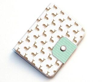 Passport Case - Deers on White / deer, woodland, animal, pretty, travel, wanderlust, adventure seeker, gift, handmade, vinyl, vegan