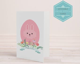 PDF Stitchable Easter Bunnyt Card - cross stitch, embroidery, craft, diy card, printable, cute, handmade, digital, bunny, sweet, easter