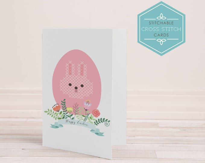 PDF Stitchable Easter Bunny Card - cross stitch, embroidery, craft, diy card, printable, cute, handmade, digital, bunny, sweet, easter