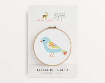 Counted Cross Stitch Kit - Little Blue Bird / bird cross stitch pattern, craft kit, embroidery, gift, fun, dmc, supplies, handmade, bird