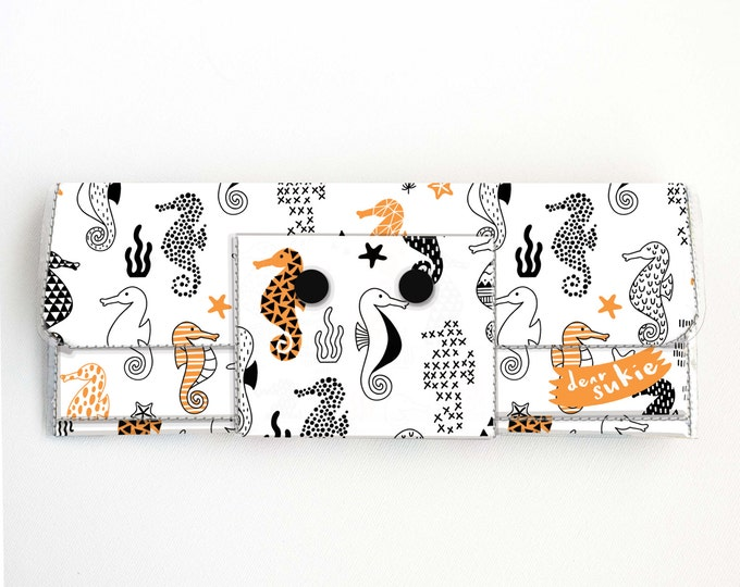 Vinyl Long Wallet - Seahorses/ vegan, pretty, large wallet, clutch, card case, vinyl wallet, handmade, ocean, sea, orange, polka dot