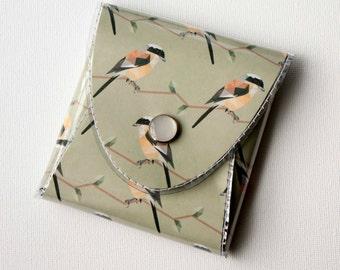 NEW Handmade Vinyl Coin Purse - Geometric Birds / wallet, vegan, change, snap, small, little, pocket wallet, gift, bird, polka dot