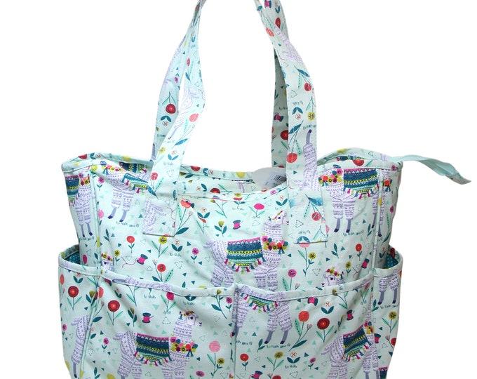 SEW EASY Llama Knitting Tote - project bag, crochet, knit, needle case, craft bag, purse, alpaca, cute, floral, needle craft, cross stitch
